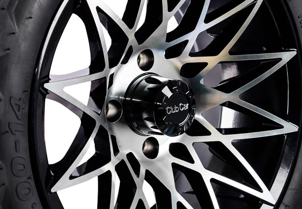 Athena 14 inch wheels machined black close up