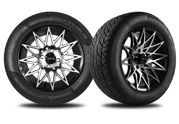 "Athena 14"" golf cart wheel machined gloss black"
