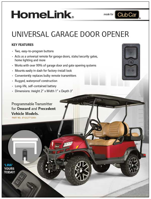 Homelink garage door opener for golf cart