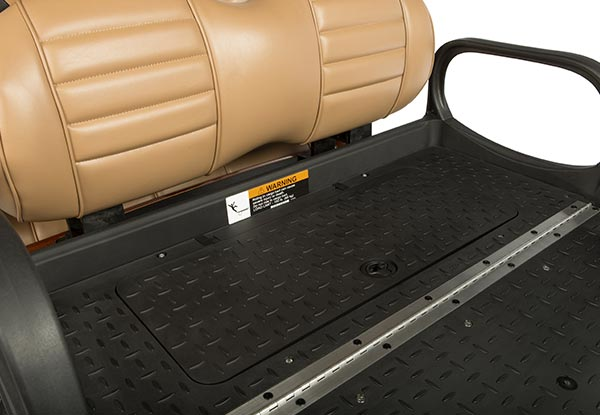 Under seat storage compartment closed