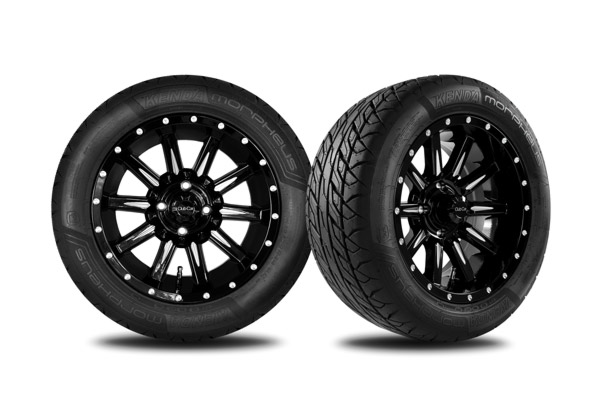 "Zeus 14"" gloss black wheels with Morpheus tires"
