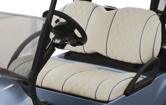 White and blue diamond stitch premium seats for fleet golf cars from Club Car