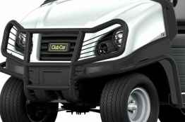 A brush guard is available as a commercial utility vehicle accessory from Club Car