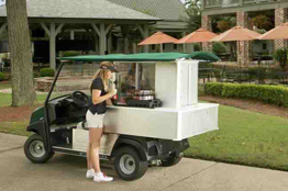 Food, beverage, and merchandise golf course vehicle