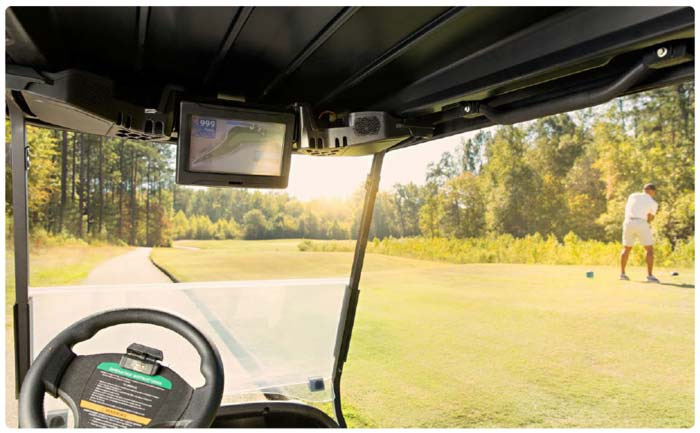 golf cart in-car entertainment, messaging, and car control