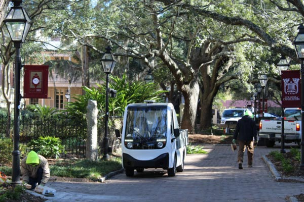 Electric utility vehicle for campus grounds maintenance