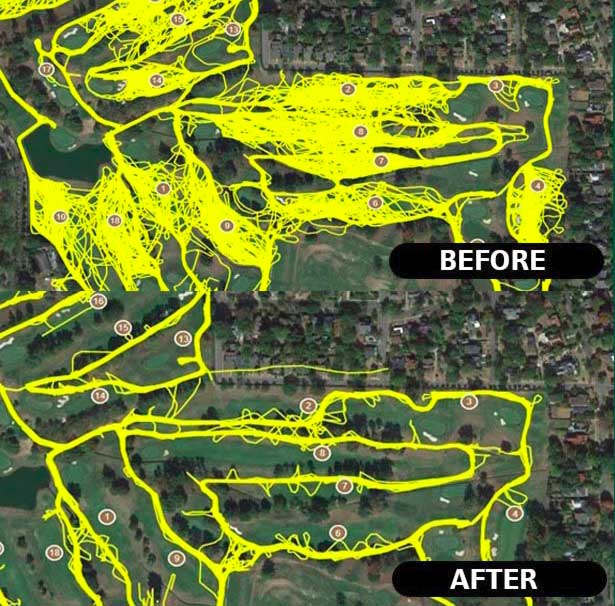 golf cart control map before and after