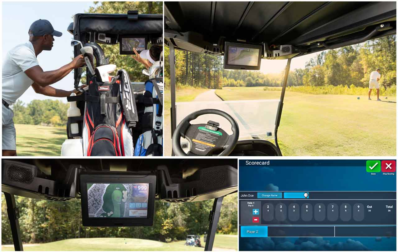 golf cart connected car display for golf club member carts with gps tracking