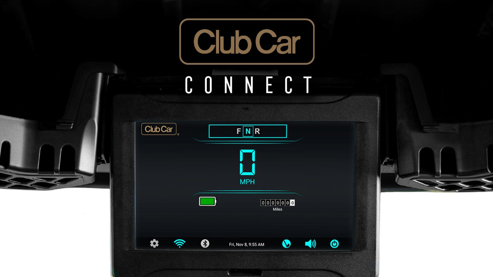 Connected car screen display and bluetooth speakers with Visage golf
