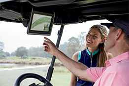 Connectivity and Visage fleet management for golf cart tracking and control.