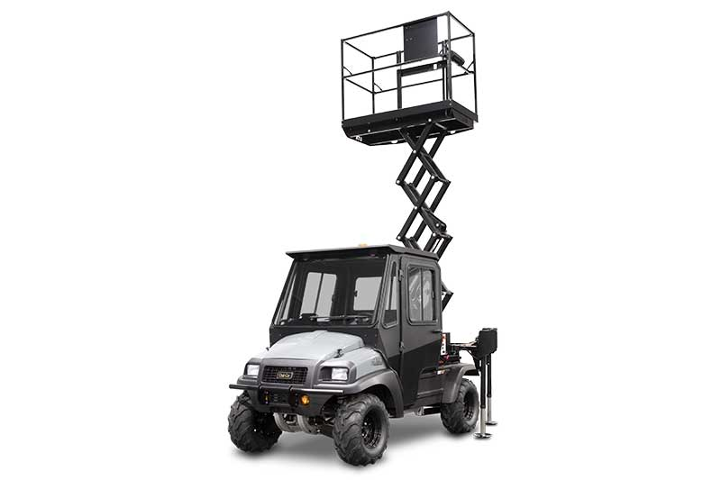 Custom Solutions Carryall 1700 scissor lift utility vehicle raised DF