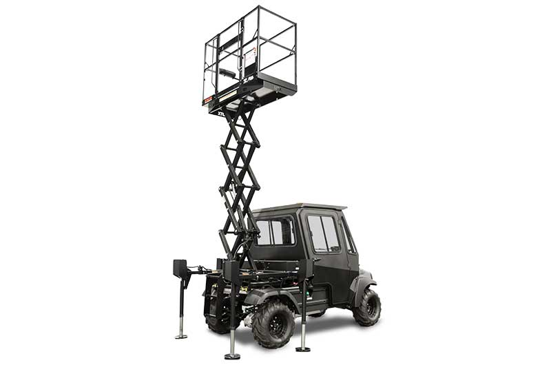 Custom Solutions Carryall 1700 scissor lift utility vehicle raised PR