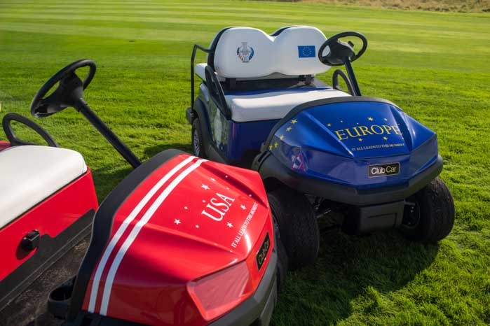 Close-up of Club Car Tempo Golf Carts for Solheim Cup