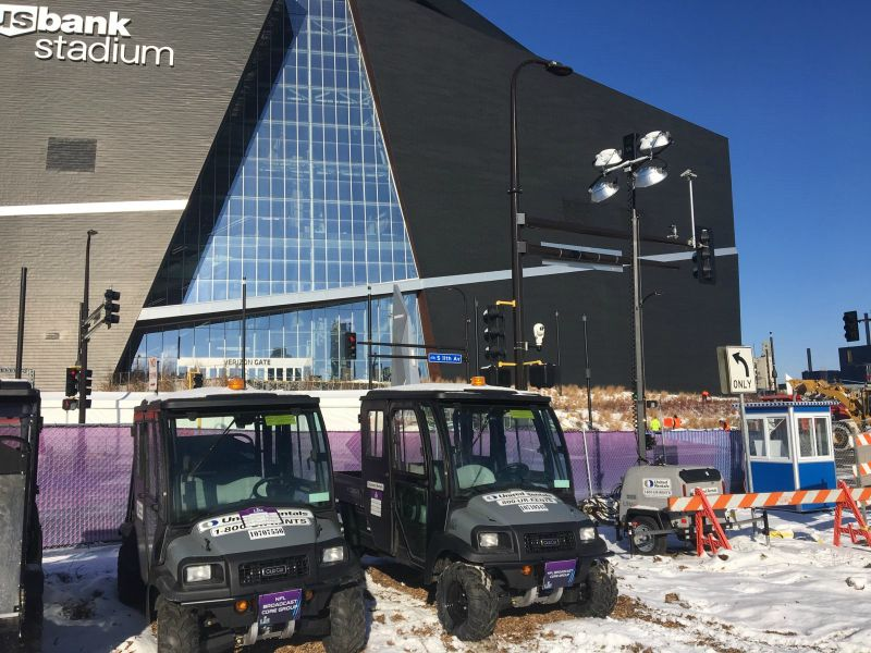 Club Car Carryall utility vehicles through United Rentals at the Super Bowl