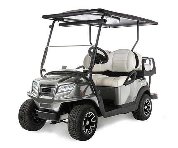 Platinum silver Onward 4 passenger golf cart 573x476