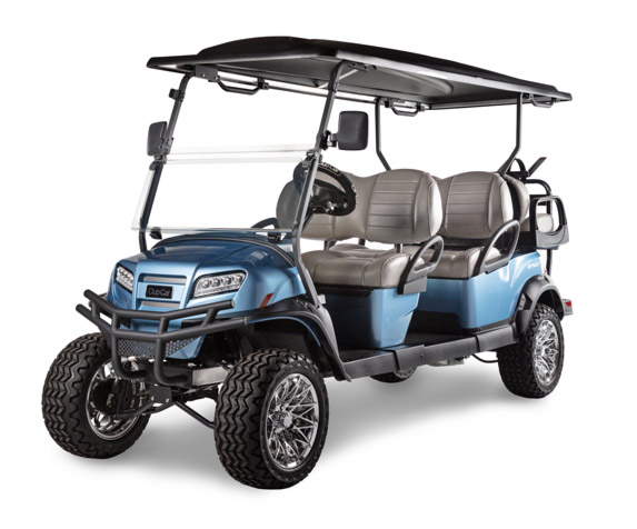 Onward 6 passenger lifted golf cart with custom wheels