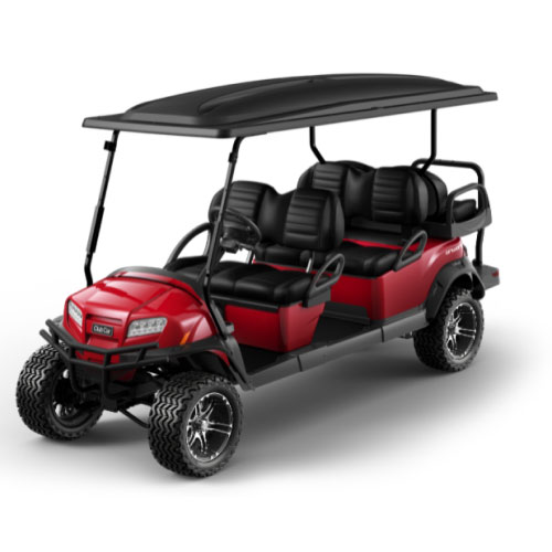 Lifted 6 Passenger Golf Cart in Red