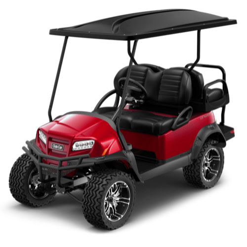 Lifted 4 Passenger Golf Cart in Red