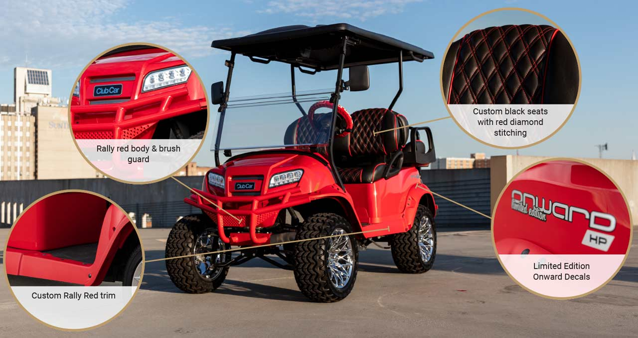 Lifted 4 passenger golf cart with custom wheels and seats  blazing comeback