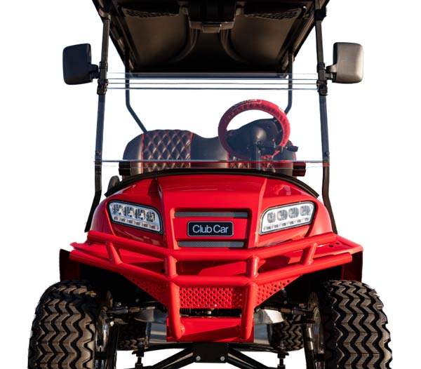 Onward red lifted golf cart with custom seats 600x526
