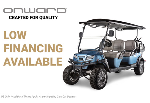 Financing promotion showing Onward 6 passenger lifted golf cart with custom wheels