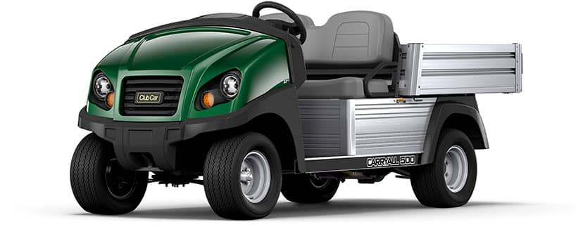 Forest green two-seater Carryall 500 turf utility vehicle which support golf operations and management