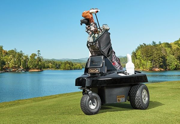 Tempo Walk autonomous golf caddie on a fairway